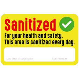 Sticker sanitized