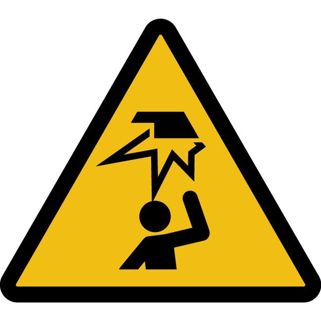 Sticker warning above head obstacle