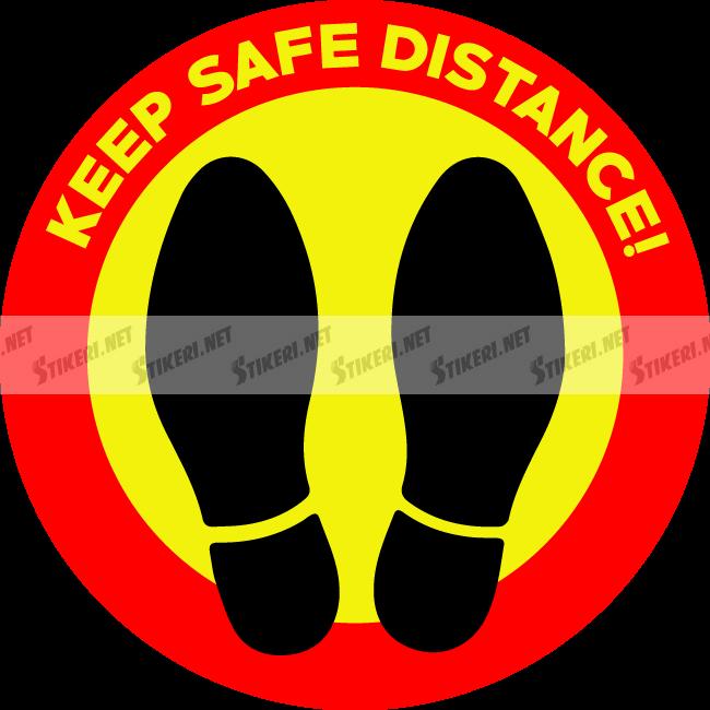 Floor decal keep safe distance