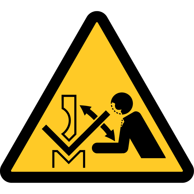 Risk of injury due to sudden movement of the part when working with a press